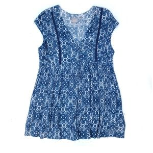 Anthropologie Blue Button Front Short Sleeve Tunic